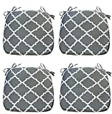 IN4 Care Outdoor Indoor Chair Cushions Set of 4, Decorative Chair Pads Patio Seat Cushions 16x17 Inch for Office Patio Furniture Chairs Home Garden Use (Grey)