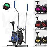 we r sports 2-in-1 ellittico attraversare allenatore & esercizio bici casa fitness cardio allenamento macchina (blu)