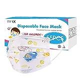 50 Stück Kinder mundschutz, Maske Kinder 3-lagig, Schützt vor Staub, Atmungsaktiv, Einwegmasken, Mundschutz Maske Kinder, Stoffmasken Mundschutz, Einheitsgröße