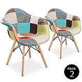 Mc Haus AURA Patchwork - Pack 2 Sillones Comedor estilo Vintage patchwork tower,...