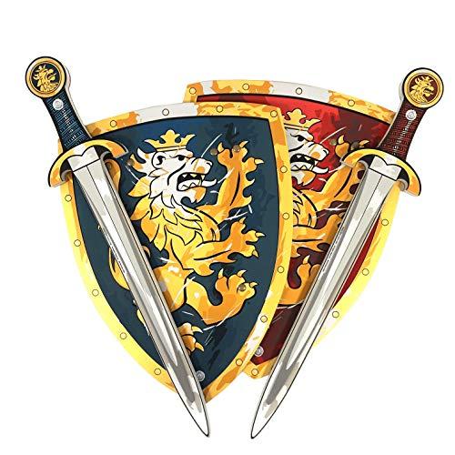 Liontouch 110LT Ensemble de Jeu de Noble Chevalier médiéval pour Deux, Bleu et Rouge | Deux épées Jouets et Deux boucliers Jouets en Mousse pour Enfants