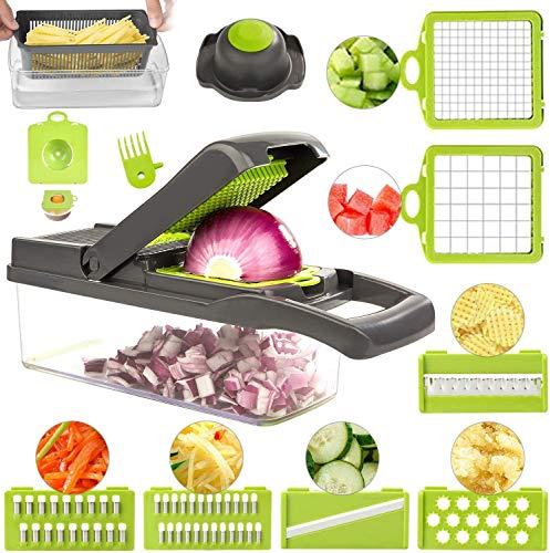 DUMAO 12 in 1 Vegetable Chopper, Multifunctional Mandoline Slicer Dicer Household Kitchen Manual Julienne Grater Cutter for Onion, Garlic, Carrot, Potato, Tomato, Fruit, Salad