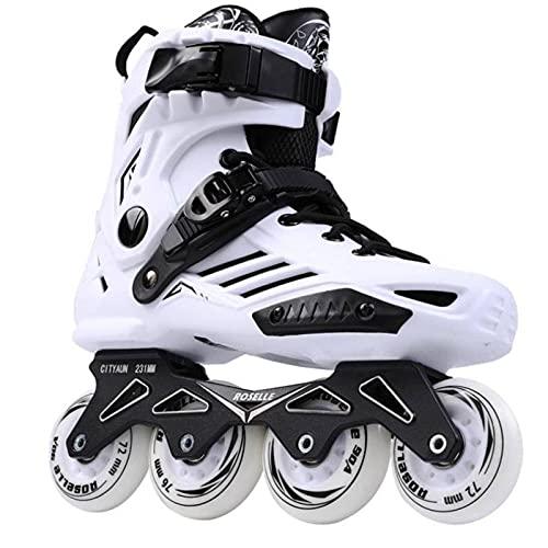N\C Patines de Ruedas en línea para Adultos Flat Figure12 Choice Zapatillas de Patinaje Zapatillas de Deporte para Principiantes al Aire Libre Camiones de Aluminio avanzados Ruedas de PU Cool