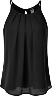 Women's Crewneck Pleated Front Double Layered Chiffon Cami Tank Top (S-3X)