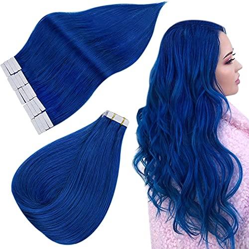 Easyouth Remy EchthaarVerlängerung Blau Farbe 16 Zoll 25g / Packung Skin Weft Tape auf Echthaar