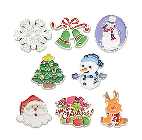 Tpcean Cartoon Snowflake David's Deer Santa Claus Brooch Pin Badges 8 PCS Enamel Lapel Pin Set for Clothing Bags Jeans Accessory or DIY Crafts