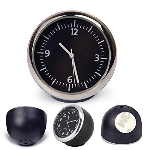 R27 Mini Uhr Kfz Auto Zeitanzeige Autouhr Zeituhr beleuchtet Quarzuhr Digital, Glasspiegel, hohe Transparenz, Stromversorgung: Zellenbatterie, Anzeigetyp: Nummer, Schwarz-Silber