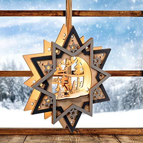 Wichtelstube-Kollektion LED Fensterbilder Weihnachten Holz beleuchtet Skifahrer inkl. Timer Schwibbogen Weihnachten