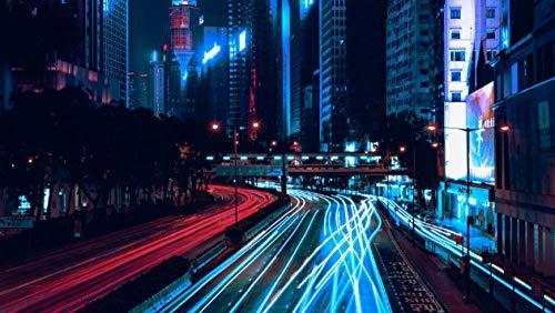 NOBRAND Rompecabezas Rompecabezas Adulto 1000 Piezas Ciudad De Noche Rascacielos Camino Luz Tráfico Puzzle De 1000 Piezas