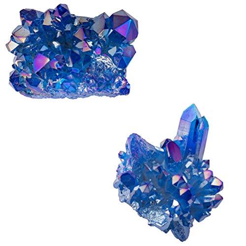 VOSAREA 2 Piezas Natural Azul Celeste Mineral Cristal Curativo Cluster Geoda Piedra Irregular Alies Piedra Decoración del Hogar Piedra Preciosa Espécimen
