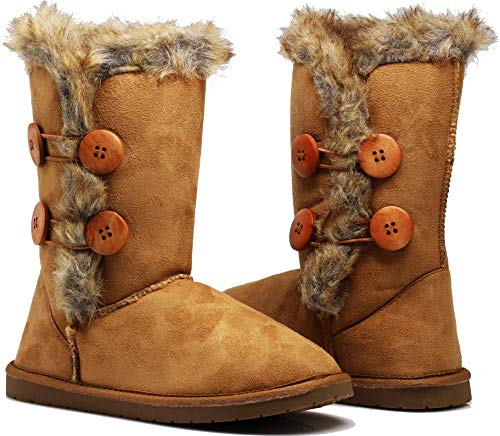 Enzo Romeo Chateau Womens Twin Button Fully Fur Lined Winter Snow Boots (7, Tan)
