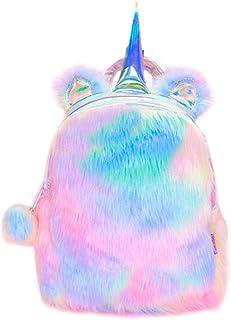 Felpa Linda Mochila Unicornio Fluffy Rainbow Unicorn Mochila Mini Bolsas para Chicas Mujer Muñeco de Peluche Suave Mochila Cremallera Viajar Bolsa para la Escuela