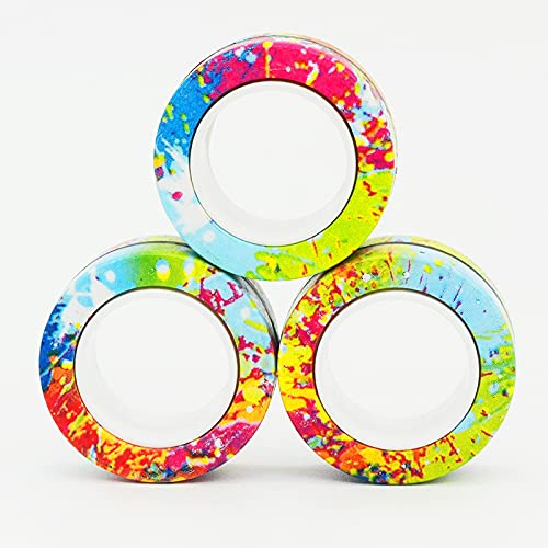 Droquimur | Anillos Magnéticos | Fidget Spinner | 3 Unidades | Multicolor (Multicolor)