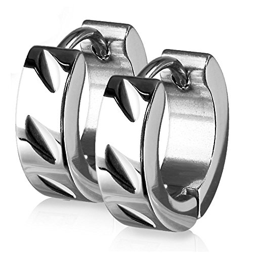 Bungsa Creolen silber Edelstahl mit Diagonalschliff 1 Paar für Damen (Ohrstecker Ohrringe Ohrhänger Creolen Ohrschmuck Ohrklemmen Damen Frauen Herren Mode)
