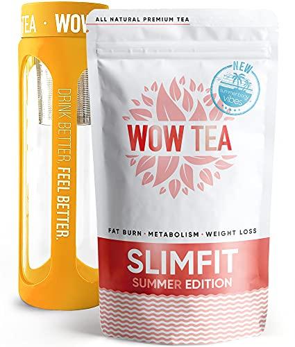 WOW TEA Sоmmer-Tees Duo Set: Sommer Detox Tee mit 24h-Effekt | Schnell wirkender Abnehm-Tee | Energie und Vitalität steigernder Wellness-Sommertee & Infuser-Flasche | 150g, 550ml, Made in EU