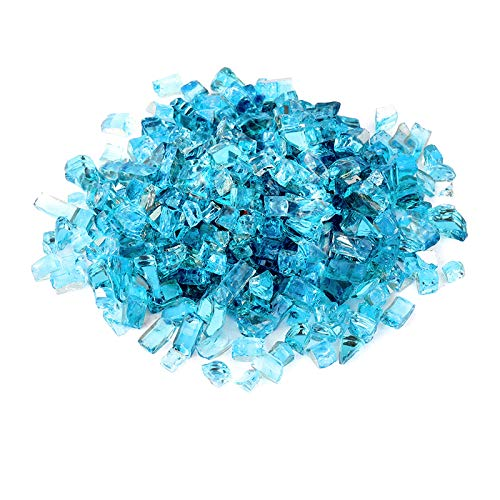 onlyfire 10-Pounds Regular Fire Glass for Natural or Propane Fire Pit Fireplace & Landscaping, 1/4-Inch High Luster Caribbean Blue