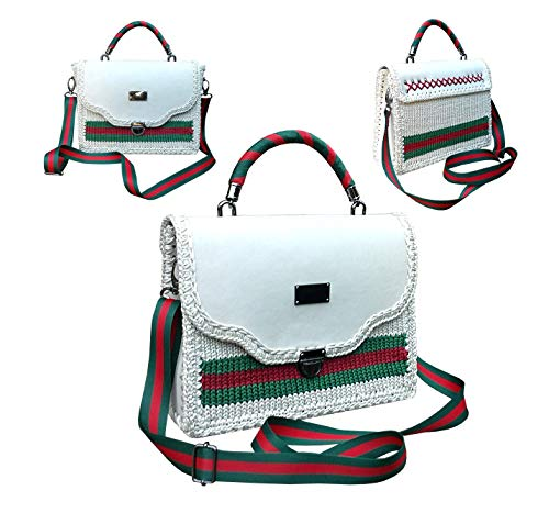 Classic light beige handbag with green & red stripe. Knitted shoulder bag with genuine leather. Shoulder bag with striped shoulder strap