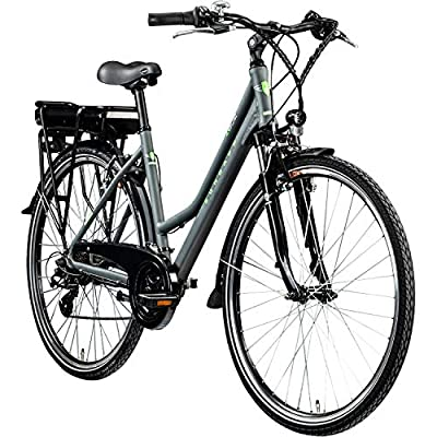 Zündapp E Bike 700c Trekkingrad Damen Pedelec Z802 Elektrofahrrad 21 Gänge 28 Zoll Rad (grau/grün, 48 cm)