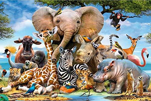 SBXPINTU Tierfamilienportrait.Png Puzzle Holz Spielzeug Erwachsene Spiels Puzzle Klassisches Jigsaw Puzzle 500 Teile