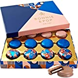 Bonnie and Pop's Gourmet Fudge Cookies Gift Basket, Prime Unique Holiday Corporate Mother's Day Chocolate Baskets Women Birthday Gifts Get Well Idea (Pink)