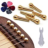Guitar Bridge Pins 6pcs Pure Brass Endpin for Acoustic Guitar 6 Strings Nail Pegs Fixed Cone, Replacement Parts with Bridge Pin Puller Remover & 5 Guitar Picks - Kimlong