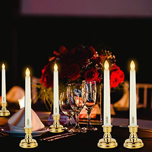Forever Speed 6 Stück LED Kerzen, Batteriebetriebene Kerzen mit Timer, Flammenlose Kerze Led Stabkerzen für Halloween Weihnachten Party Ostern Hochzeit Beige (Gelbe)