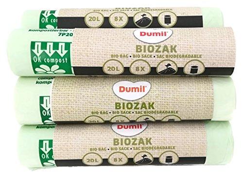 72 Stück 20 Liter Bio-Müllbeutel 45x45 cm, DIN EN 13432, 100% kompostierbar & biologisch abbaubar, reißfest, Biobeutel 20L, Abfallbeutel für Küchen-Mülleimer & Biotonne & Kompost