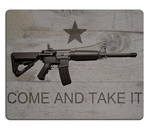 Wknoon Extended Gaming Mouse Pad Personalized Custom Design,Come and Take It Quotes AR-15 Gun on Old Wood,Non-Slip Thick Rubber Large Mousepad