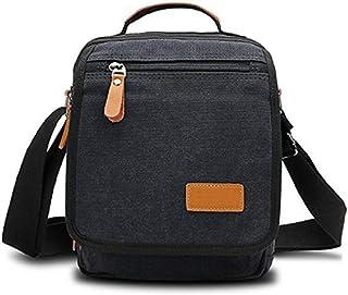 Goatter Unisex Black Soft Canvas Material Unisex Multi-Compartment Messenger Bag/Shoulder Bag/Sling Bag