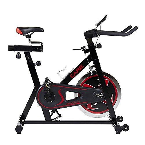Care Fitness - Vélo de Biking Speed Racer - Transmission par Chaîne - Masse d'Inertie 22 kg - Résistance à Réglage Manuel - Roulements à Billes - Posture Idéale - Roulettes de Déplacement