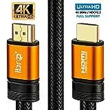 IBRA 2M Orange Câble HDMI Câble très Haute Vitesse 18 GB/s HDMI 2.0b Supporte...