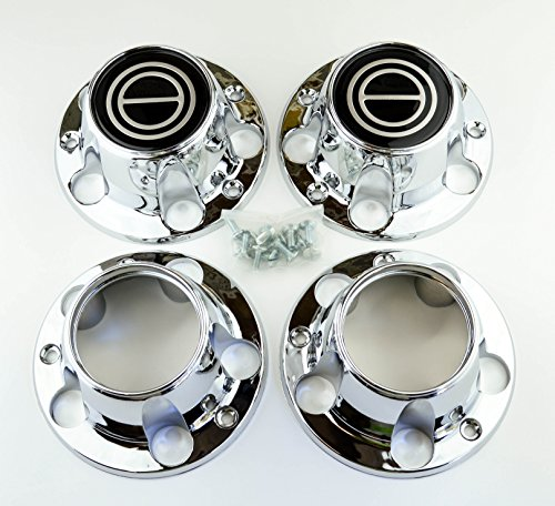 BB Auto Set of 4 New Wheel Hub Center Caps Chrome Black 2 Open Front 4wd 4 Wheel Drive Replacement for 1980-1996 Ford F150 Truck Bronco Van 4x4