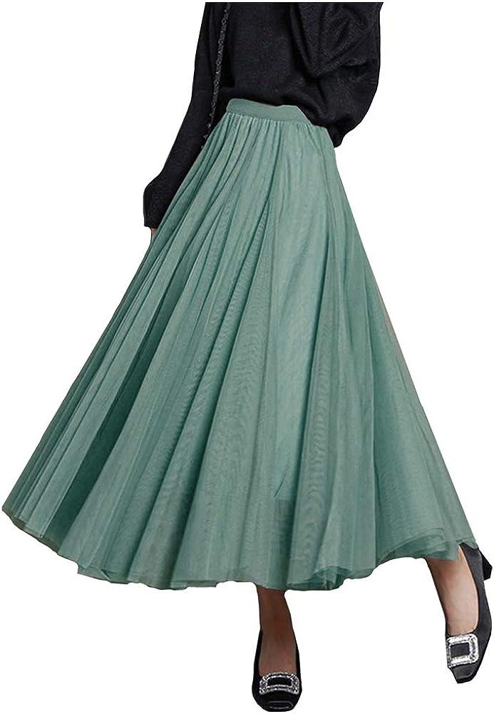 FEOYA Womens Long Tulle Skirt Pleated A Line Layered Tutu Skirt High Waist Elastic Mesh Flowy Maxi Skirt for Wedding Party