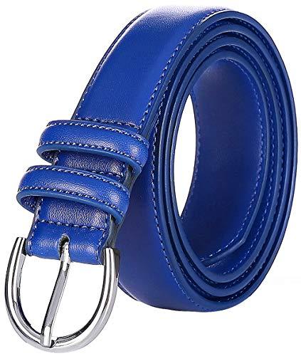 Falari Women Genuine Leather Belt Fashion Dress Belt With Single Prong Buckle 6028-RoyalBlue-XS
