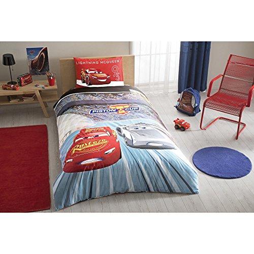 TI Home Disney Cars 3 Licensed Duvet Cover Set, 100% Cotton Ranforce, Single Size 3-Piece Bedding Set