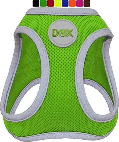 DDOXX Brustgeschirr Air Mesh, Step-In, reflektierend | viele Farben | für kleine, mittlere & mittelgroße Hunde | Hunde-Geschirr Hund Katze Welpe | Katzen-Geschirr Welpen-Geschirr | Grün, M