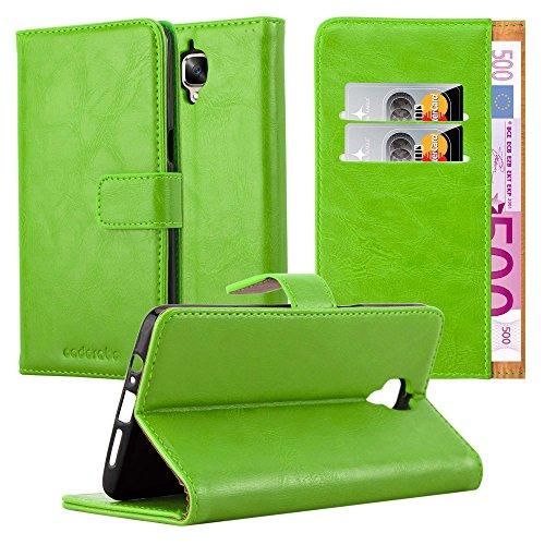 Cadorabo Hülle für OnePlus 3 / 3T in Gras GRÜN – Handyhülle mit Magnetverschluss, Standfunktion & Kartenfach – Hülle Cover Schutzhülle Etui Tasche Book Klapp Style