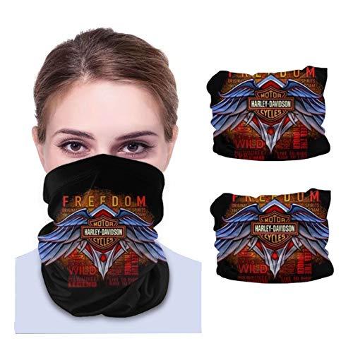 ONLED Bandanas unisex a prueba de sol, cubrebocas, bufanda, toalla de cara, calentador de cuello de microfibra, bufanda variada, 2 piezas logotipo de Harley Davidson
