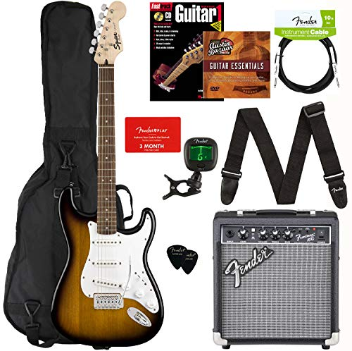 Fender Squier Stratocaster Pack - Sunburst Bundle with Frontman 10G Amplifier, Gig Bag, Instrument Cable, Tuner, Strap, Picks, Fender Play Online Lessons, Instructional Book, and Instructional DVD