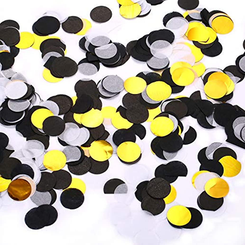 moinkerin Paper Confetti Round Tissue Confetti Circle Table Confetti for Wedding Birthday Party Decoration, 1 Inch Black + White + Gold
