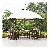 HLZY Gazebo Permanente per Patio Lawn, 10x10 ft Outdoor Doppio Tetto Gazebo Baldacchino Mobili in Alluminio pergole, Patio Padiglione con scrivania
