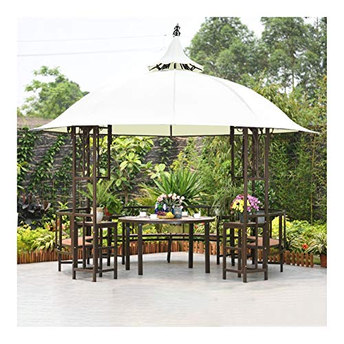 HLZY Permanent Gazebo for Patio Lawn, 10x10 FT Outdoor Double Roof Gazebo Canopy Aluminum Furniture Pergolas, Patio Pavilion with desk, Backyard Furniture Set