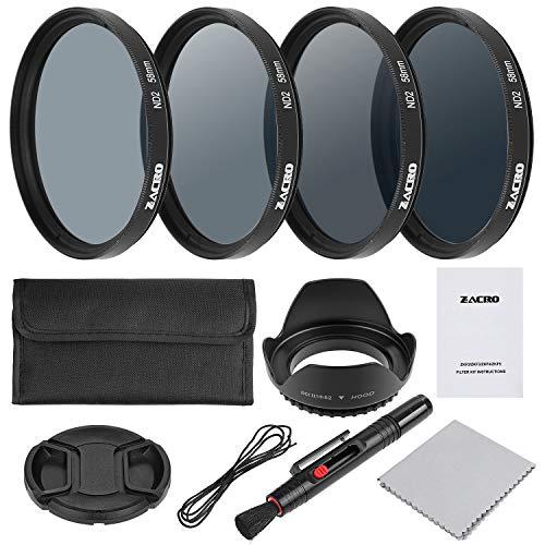 Zacro 58mm Objektiv Filter Set ND2, ND4, ND8, ND16 Kit mit Objektivstift + Filtertüte + Gegenlichtblende + Objektivdeckel + Mikrofaser Reinigungstuch