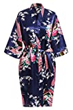 USDisc't Elegant Women's Kimono Robe for Parties Bridal and Bridesmaid Short (M, NavyBlue)