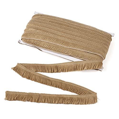 Beadthoven Borla Flecos, 25 mm de encaje de fibra con flecos bordados, cinta bordada de 27 yardas para ropa, cortinas de boda, sombra de lámpara para decoración del hogar, color marrón