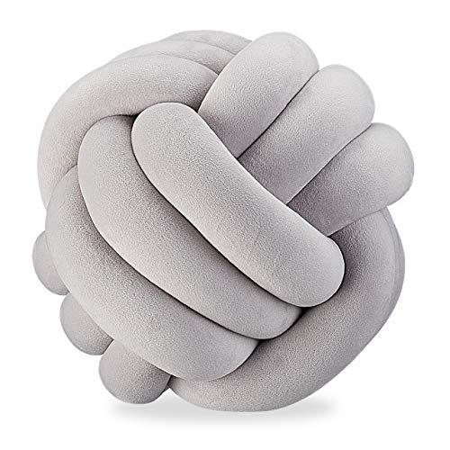 Relaxdays Knotenkissen, geknotetes Kissen für Sofa, Bett, dekorativ, skandinavisch, Zierkissen Knoten, Ø 25 cm, grau