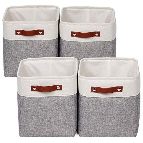 "Univivi Fabric Cube Bins Set of 4 Storage Baskets Boxes with PU Handles for Home Closet Nursery Foldable Storage Bins (10.5"" x 10.5"" x 11"")"