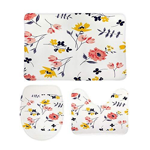 HAOXIANG - Juego de 3 alfombras de baño antideslizantes para suelos lavables con flores de primavera y con forma de U