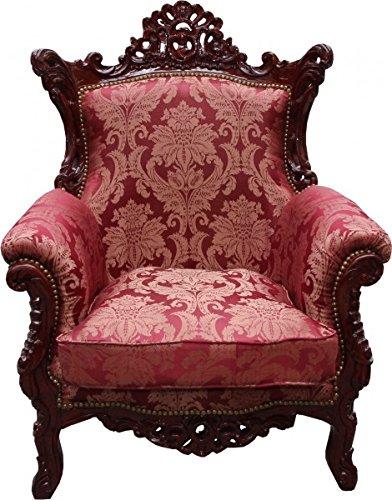 Casa Padrino Barock Sessel 'Al Capone' Mod2 Bordeaux Muster/Braun Rot Möbel Antik Stil - Limited Edition