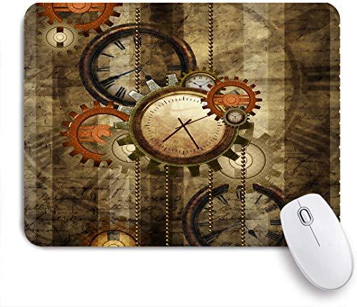 Dekoratives Gaming-Mauspad,Hipster Abstract Steampunk Uhren und Gears,Bürocomputer-Mausmatte mit rutschfester Gummibasis